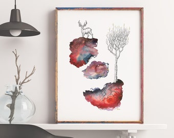 The Stag & The Shadow - Tree Art - Pacific Northwest Art - Print - Nature art - Watercolor Print - Flora - Fauna