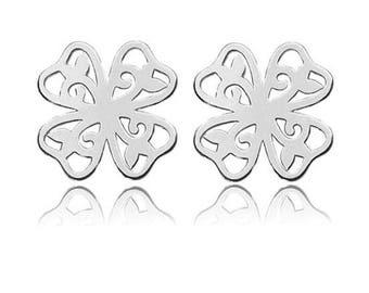 CLOVER earrings - STERLING SILVER, openwork earrings, stud earrings,  sterling silver 925 earrings