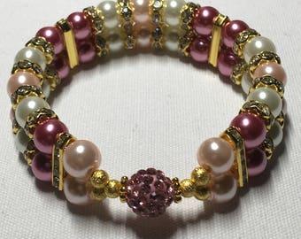 Diuble banded Rhinestone Ball (pink)