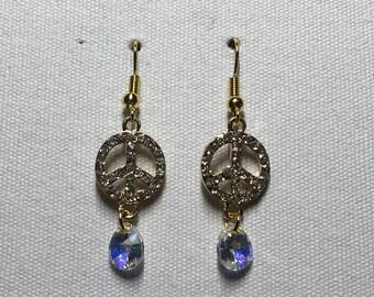 Gold rhinestone peace earrings with Swarovski crystal AB charm