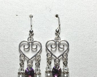 Heart chandelier earrings with purple Swarovski crystal charm