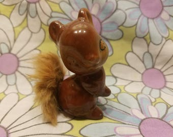 Vintage ceramic squirrel with fur tail
