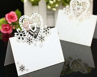 50pcs/pack Love Heart Laser Cut Wedding Party Table Name Place Cards Favor Decor Wedding Decoration