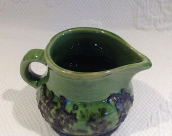 """Laurentian pottery - green Creamer """"lava"""" style - numbered 587 / / made in the Canada"""