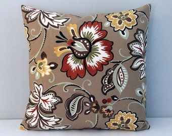 Tan floral indoor outdoor cushion cover