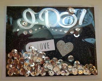 I DO! Engagement shaker bag card.