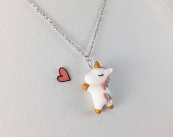 Cute Unicorn Necklace // Polymer Clay Unicorn Charm // Kawaii Unicorn Gift