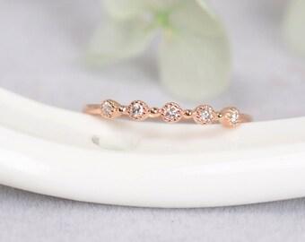 On Sale! Half Eternity diamond ring set in 18k Rose Gold, Diamond Engagement Ring ,Bridal Ring