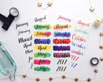 3 Sheet Planner or Bullet Journal Sticker Monthly Sampler Kit - Vibrant Water Color Transparent Glossy Stickers (K13)