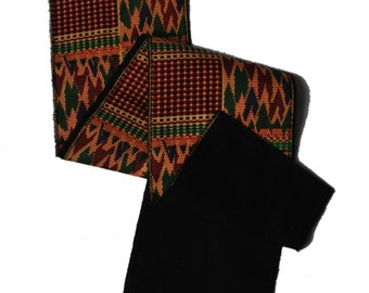 african print kente scarf with black backing // african scarf // african print scarf // kente scarf // kente print scarf