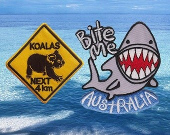 Road Sign Patch Shark Patch Patches Iron On Patch Set Appliques Embroidered Patches