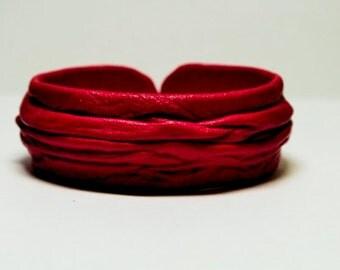 Genuine leather adjustable bracelet cuff. Red leather bracelet, statement bracelet