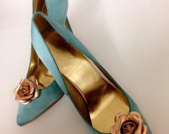 Shoe Clips, Bridal Shoe Clips, Wedding Shoe Clips, Shoe Clips for Wedding Shoes, Bridal Shoes, wedding,wedding shoes,rose gold, leather,rose
