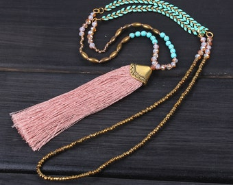 4mm crystgal beads New stylish design rose pink tassel metal sweater beaded necklace