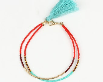 Blue Tassel Bracelet with Beads and Colored Tassel