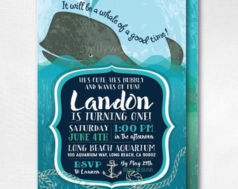 Nautical Whale 1st Birthday, Baby Whale 1st Birthday Invitations, Printed Whale Birthday Invites, Nautical Theme Boy Birthday, DI-369FC