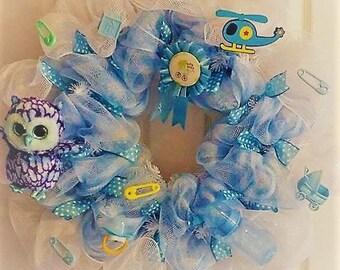 Door Hanger, Wall Hanger, Home Decor,Mesh ribb door hanger wall hangeron baby wreath