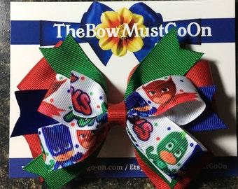 PJ Masks Bow/Stacked Bows/Character Bows/PJ Masks Bows/Disney Inspired Bows/Red,Blue and Green Bows/PJ Masks accessories/Birthday Bows