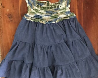 Chambry tiered dress with cream/green/blue variegated crotchet top size 24 months