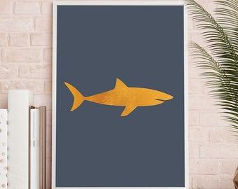 Golden Shark Printable, Shark Art, Ocean Printable Art, Shark Print, Gold Bathroom Decor, Shark Wall Art, Nautical Bathroom, Coastal Decor