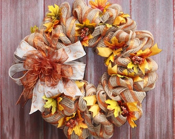 Rustic Autumn Wreath, Mesh Wreath, Natural and orange Wreath, Fall leaves Wreath, Fall wreath, Thanksgiving Wreath, Welcome Wreath