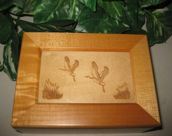 Jewlery Box with Crane Engraving