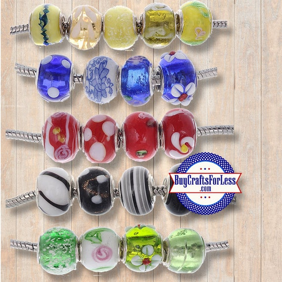 ASSORTED Beads, Glass and Acrylic, Large Hole, 50 pcs **FREE Shipping*