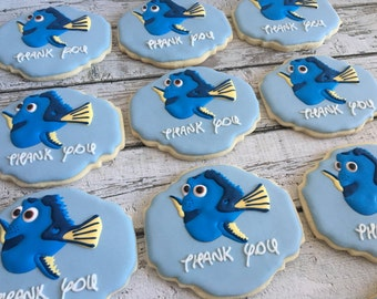 1 Dozen Finding Nemo Dory Blue Tang Fish Decorated Cookies