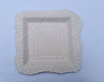 9-inch white square pottery plate, lace imprinted