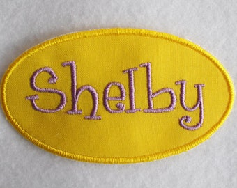Name Patch, Name Applique, Personalized Patch, Personalized Applique, Oval Patch, Iron On Patch, Iron On Name Patch, Custom Embroidery Patch