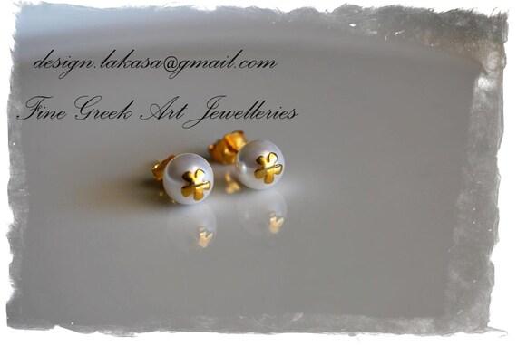 Flower Pearls Earrings Silver 925 Gold-plated Jewelry Lakasa e-shop