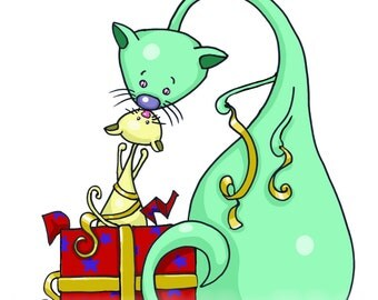 """PRESENTING KITTY - Glossy art print mounted to 8x10"""""""