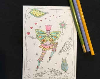 Balm the world with love Coloring Greeting Card