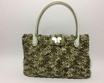 MARTINA - green raffia handbag, lined interior // unique piece