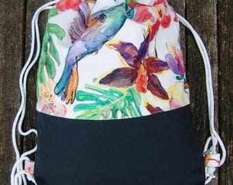 gym bag - backpack - tropical - flowers