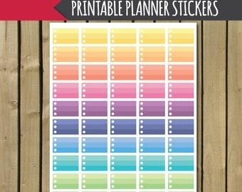 printable planner stickers, printable half boxes stickers, printable checklist stickers, printable stickers, half boxes checklist, pastel