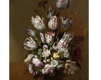 Hans Bollongier : Floral Still Life (1639) Canvas Gallery Wrapped Wall Art Print