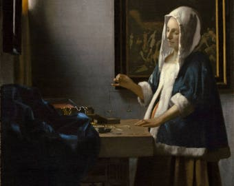 Johannes Vermeer : Woman Holding a Balance (1662) Canvas Gallery Wrapped Wall Art Print