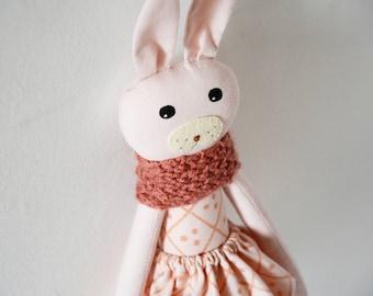 Stuffed animal, cloth doll,rag doll, heirloom doll, handmade doll, pink doll, rose bunny doll, gift for kids, gift for children, tulip skirt
