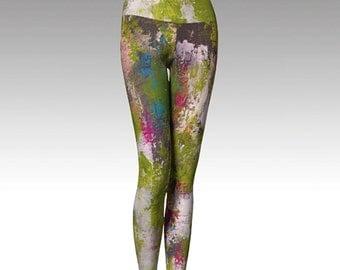 Printed Leggings, Green Leggings Modern Leggings, Yoga Pants, Yoga Leggings, Women's Leggings, Wearable Art, Gift for her