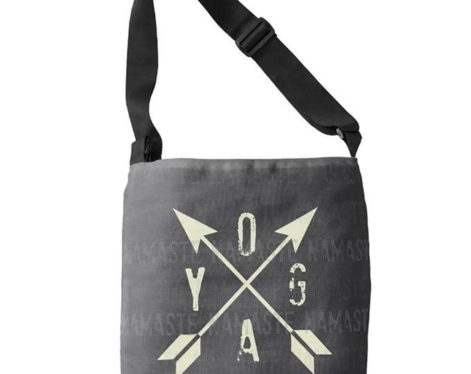 Bags, Totes, Cloth Bag, Gray YOGA Bag, Namaste Cross Body Bag, Medium Bag