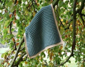 Crochet baby blanket in green/beige Merino soft wool