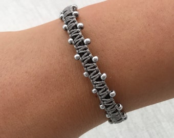 Butterfly silver beaded macrame on leather friendship bracelet -holiday - teenager - beaded bracelet - uk seller - friendship