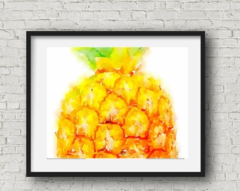 Pineapple Watercolor Print ~ Instant Downloadable ~ Wall Art