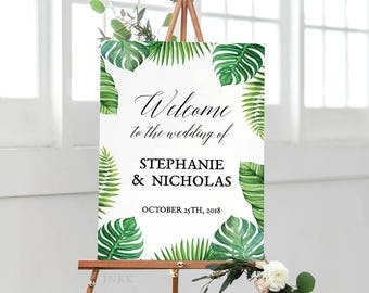 Printable Wedding Welcome Sign Template, Personalized Tropical Welcome Sign,Custom Wedding Sign,Editable Template PDF Instant Download #E027