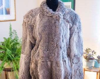 Women's vintage rabbit fur coat