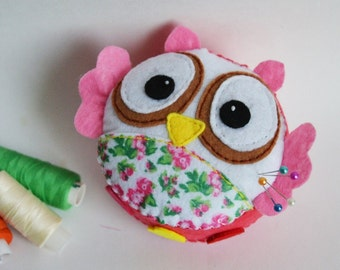 pincushion felt  hand embroidered wool felt embroidery sewing needle bar owl