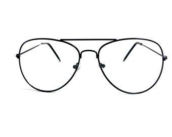 retro jet black aviator clear lens pilot frame glasses