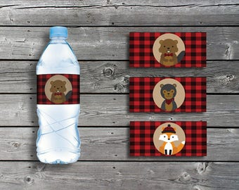 Lumberjack Themed: Water Bottle Labels for Baby Shower or Birthday Party