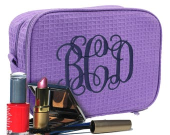 Bridesmaid Cosmetic Bag - Personalized Makeup Case - Monogrammed Make Up Bag - Maid of Honor Makeup Bag - Mother's Day Gift - Gift for Mom